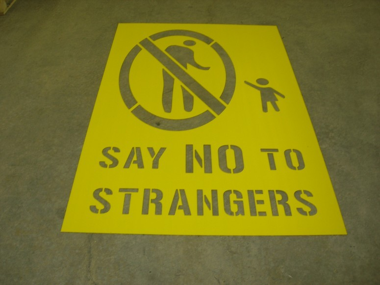 "Say ""No"" to Strangers Logo Stencil"